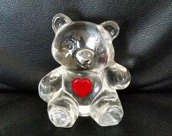 Vintage Teddy Bear with Red Glass Heart Paperweight Figurine Art Glass