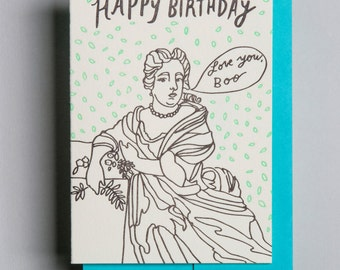 "Letterpress card,  ""Love you , Boo. Happy Birthday"""