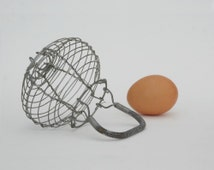 Small wire egg basket kid's kitchen toys,  Farmhouse antique french country kitchen decor, Mid century