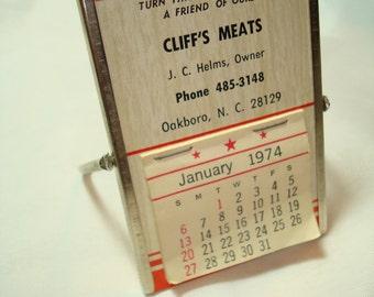 1974 CLIFFS MEATS Calendar Mirror Combo.