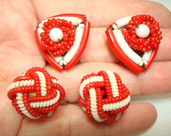 1940s 1950s Red and White  Set Of Screw Back and Clip On Earrings.