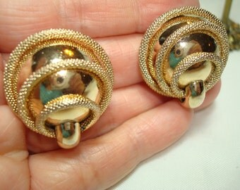Vintage KRAMER Gold Tone Dome Earrings.