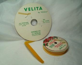 1970s Golden  Veltex Velvet and Velita by Rifabco Spools of Ribbon.