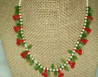 1960s Dainty Red Cherries with Green Leaves Necklace.