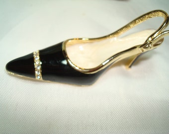1992 Black Enameled High Heel Pin with Rhinestones.