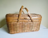 Vintage Picnic Basket, Small Woven Basket with Handles