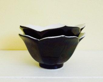 Black & White Lotus Bowls, Set of 2, Berry Bowls, Custards, Made in Japan