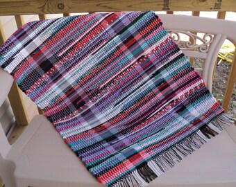 Hand Woven  Rag Rug: Cotton Multi-color