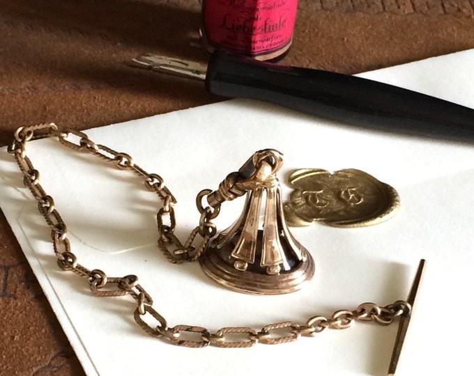 Antique Gold Watch Fob & Chain Intaglio TC Smoky Quartz