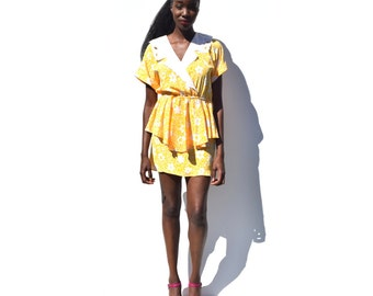 Bright yellow floral print peplum mini dress with lace collar 1980s 80s VINTAGE