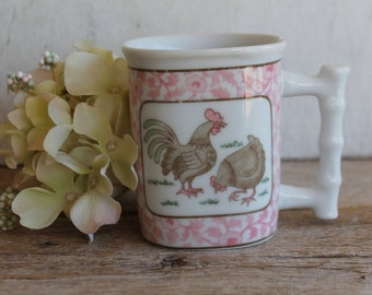 Vintage Coffee Mug // Pink & White Shabby Chic // Rooster and Chicken // Farmhouse // Mother's Day