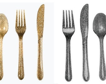 Gold or Silver Sparkle Utensils-set of 24