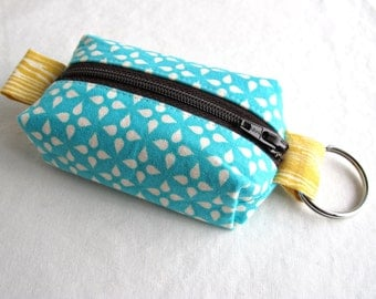 Boxy Little Pouch Key Chain, Split Key Ring - Washi Turquoise Stars