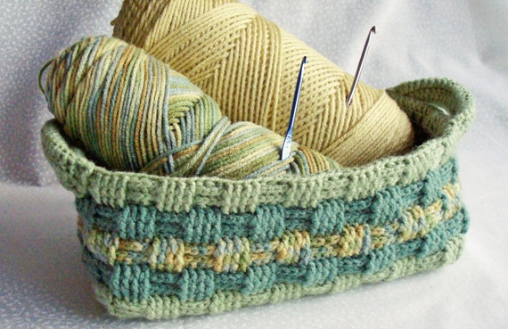 Crochet Storage Basket in Sage Green ~ Home Decor, Organization, Handmade Basket, Basketweave, Shabby Chic