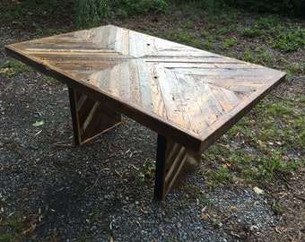 Reclaimed Wood Table, Barn Wood Table, Chevron Pattern Table