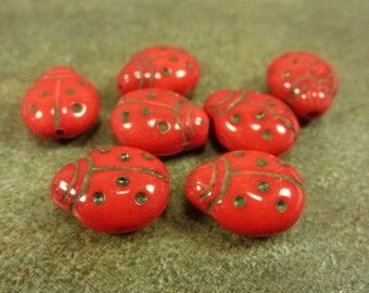 Red/Black Czech Pressed Glass Ladybug Beads 14x11mm 10pc Etched