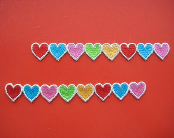 2 pcs Self-adhesvie/ iron-on Embroidered Applique Hearts 5 inch