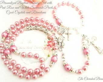 Personalized Baptism Rosary Set with Rose Pink and White Swarovski Pearls, Czech Crystals, Rhinestones and Sterling Monogram