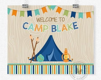 Camping Welcome Sign, Camping Birthday Sign, Camping Party Door Sign, Camping Party Decorations, Printable 8x10 Sign