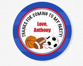 Sports Favor Tags, All-star Sports Party Favors, Sports Ball Birthday Favors, Personalized Tag
