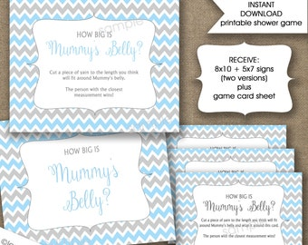 How big is mummy's belly baby shower game, INSTANT DOWNLOAD, measure mum's bump game, blue grey chevron boy, UK Version, British, English
