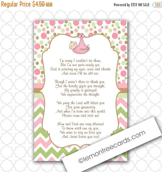Girl Baby Shower Poems: Modern Girl Thank You Poem Notes / INSTANT By Lemontreecards