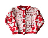 BLOWOUT 40% off sale Vintage 80s Red and White Patterned Hearts Sweater - Kids 5 - Childrens, Girls - Kids Studio