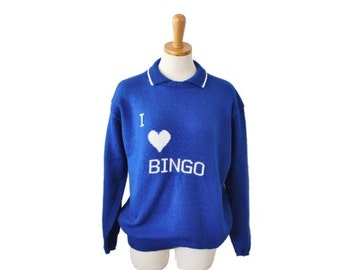 CIJ 40% off sale // Vintage 70s I Love Bingo Novelty Design Hand Knit Sweater - Women Large, blue white, handmade, retro