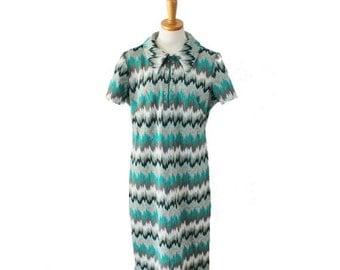 CIJ 40% off sale // Vintage 60s Jule Wyn New York Zig Zag Day Dress - Women M L - static, mod
