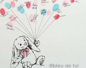 Bunny love Thumbprint Balloon, similar to wedding fingerprint tree, Original Guest Book Alternative Artwork (ink pads available seprately)