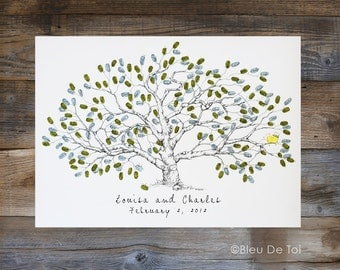 Wedding Guest Book Alternative, Fingerprint tree, Large Low Oak, unique guestbook, rustic wedding, guestbook tree, thumbprint guestbook,