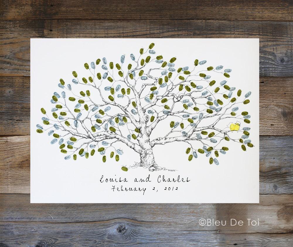 Thumbprint Tree Guest Sign: Wedding Guest Book Alternative Fingerprint Tree Large Low