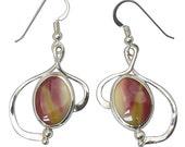 Mookaite Jasper and Sterling Silver Dangle Earrings  emktf2684