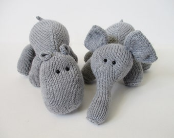 Hippo and Elephant toy knitting patterns