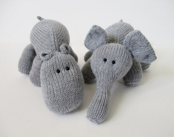 Items similar to Hippo and Elephant toy knitting patterns ...