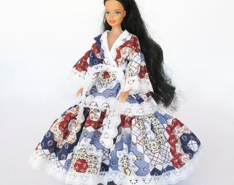 Hand Made Lace Trimmed Barbie Doll Dress