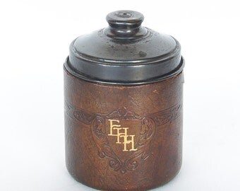 Small Vintage Leather Covered Wooden Canister