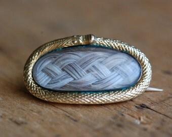 Antique 15 CT ouroboros serprent hairwork pin ∙ MISS TUCKER Victorian hairwork ouroboros pin pendant