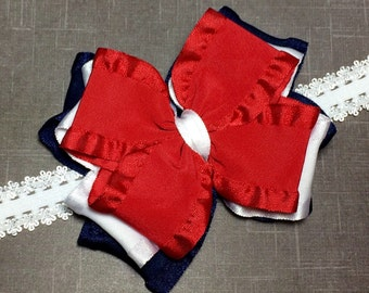 Red White and Blue Double Ruffle Ribbon Bow Headband