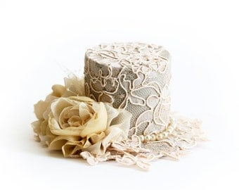 Champagne Tan Beige Hat Lace Covered Top Hat Wedding Tea Party Photography Prop Flower Girl Hair Accessory Bridal Headpiece