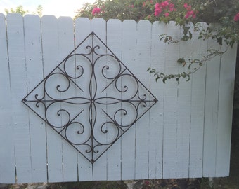 "WROUGHT IRON WALL Decor Interior or Exterior 36"" X 36"" Large Handmade, Vintage Garden at Modern Logic"