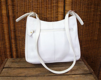 Vintage 1980s Shoulder Bag Cream White Leather Jennifer Moore Handbag