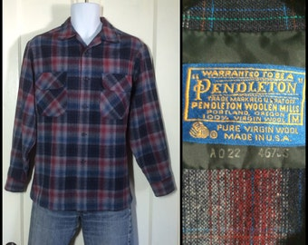 Vintage Pendleton Virgin Wool Shadow Plaid Mens loop board Shirt size Medium Blue black Dark Red Gray