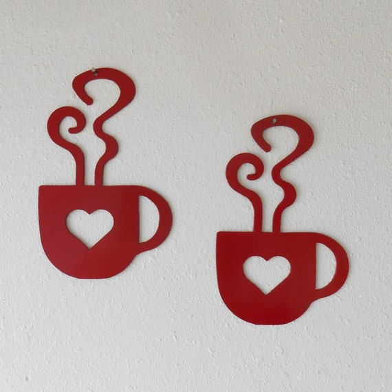 Red Heart Coffee Cup Wall Art  Metal Wall Decoration Pair