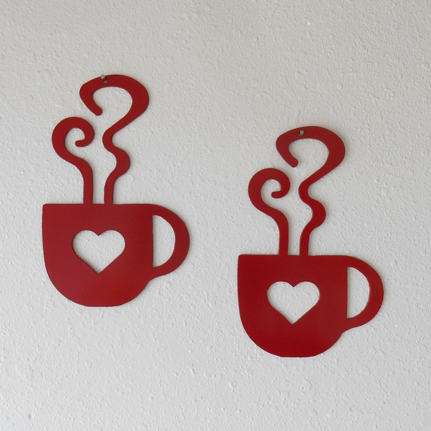 Coffee Metal Wall Art red heart coffee cup wall art metal wall decoration pair