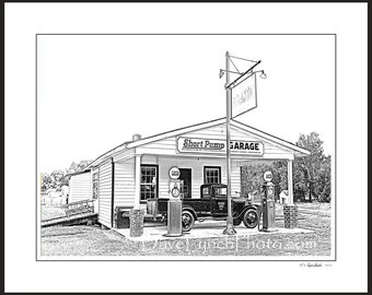 Goochland VA Virginia - Short Pump Garage - Richmond - Field Day Past - Pen and Ink Style Art Prints by Richmond VA  Photog Dave Lynch