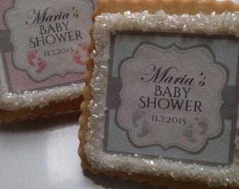Baby footprints twins custom cookie favors