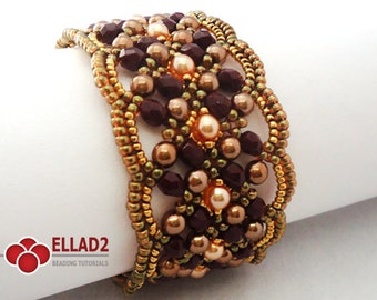 Tutorial Maroon Bracelet - Beading Tutorials,Beading Patterns,Ellad2, Jewelry Tutorials