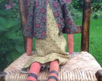 Jackie O'Lantern Primitive Pumpkin Head Doll Grungy