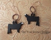 RESERVED Listing Fun Cowgirl Earrings - Rustic Steel Show Heifers - Black Angus - Cattle - Cows